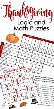 Thanksgiving Logic & Sudoku Math Puzzles