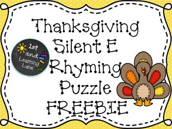 Thanksgiving Long O/Silent E Rhyming Puzzle FREEBIE
