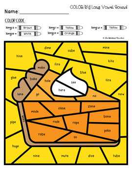 Thanksgiving Long Vowel Sounds Color By Code