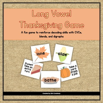 Thanksgiving Long Vowels (CVCe, Blends, and Digraphs) Game