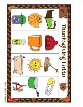 CVC Words - Thanksgiving Lotto