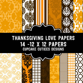 Thanksgiving Love Paper Digital Paper Pack  12 x 12 Papers