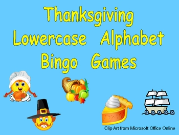 Thanksgiving Lowercase Alphabet Bingo Games- Set of 3