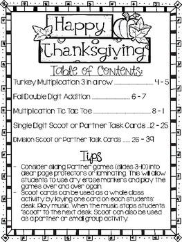 Thanksgiving MATH Games 3rd Grade NO PREP Multiplication, Addition Games