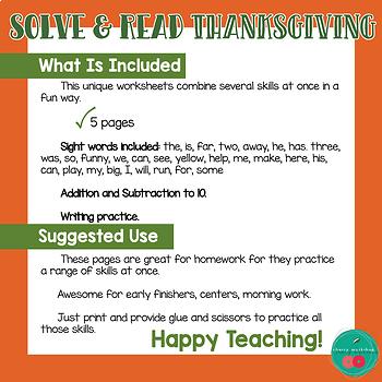 Thanksgiving MATH and LITERACY Kindergarten