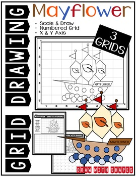 Thanksgiving MAYFLOWER (Draw with Shapes) Grid Drawing - NO PREP