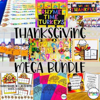 Thanksgiving MEGA Bundle - November Math, Writing, Bulletin Boards, Handwriting