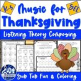 Thanksgiving MUSIC Worksheets - FUN No-Prep Writing & Listening Activities