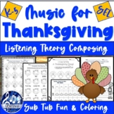 Thanksgiving MUSIC Worksheets - FUN No-Prep Writing & List