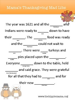 photo relating to Thanksgiving Mad Libs Printable known as Thanksgiving Ridiculous Libs Worksheets Instruction Components TpT
