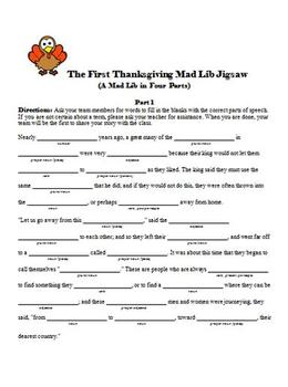 The First Thanksgiving Krazy Kloze Jigsaw: A Mad Lib in Disguise