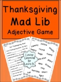 Thanksgiving Mad Lib Primary Adjective Game