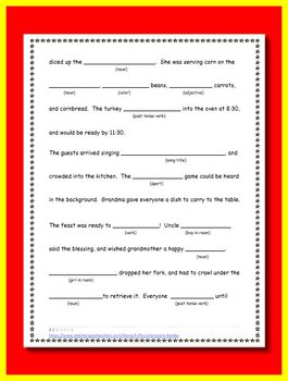 Thanksgiving Mad Lib - with Nouns, Verbs, Adjectives, and Adverbs