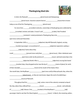 image about Thanksgiving Mad Libs Printable referred to as Thanksgiving Insane Libs Worksheets Schooling Elements TpT