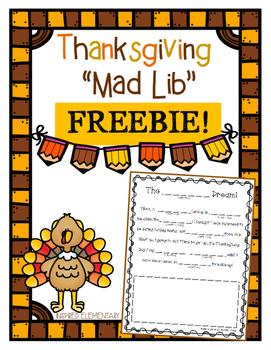 Thanksgiving Mad Libs FREEBIE!