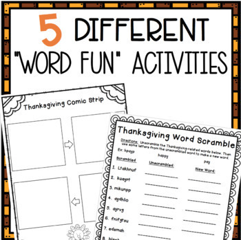 "Thanksgiving ""Mad Libs"" BUNDLE!"