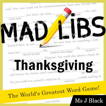 Thanksgiving Mad Libs Parts of Speech Practice FREE