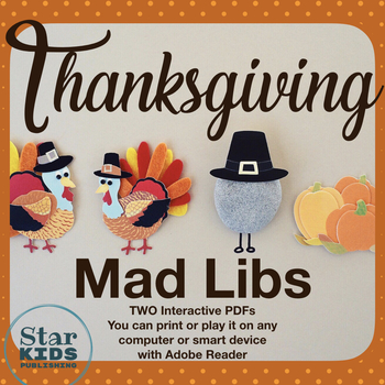 Thanksgiving Mad Libs (TWO interactive pdfs & Google Slides)