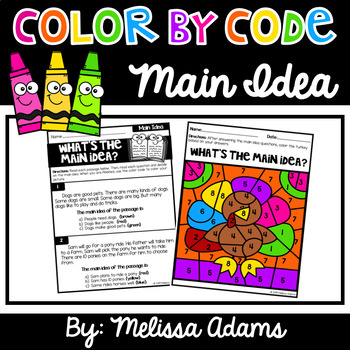 Thanksgiving Main Idea Color by Code