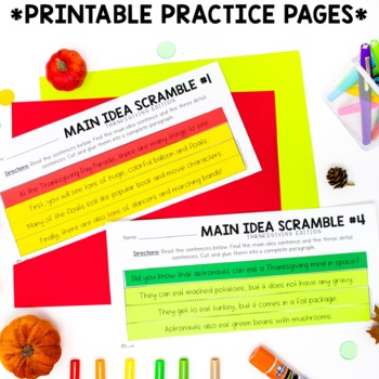 Thanksgiving Main Idea & Details Activities