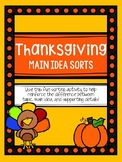 Thanksgiving Main Idea Sorts (Topic, Main Idea, and Suppor