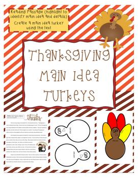 Thanksgiving Main Idea Turkey