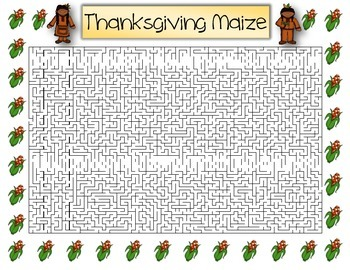 Thanksgiving Maize ~ Thanksgiving Day Theme Maze