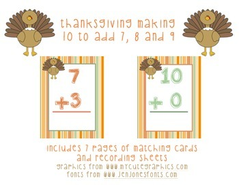 Thanksgiving Making 10 to Add 7, 8 and 9