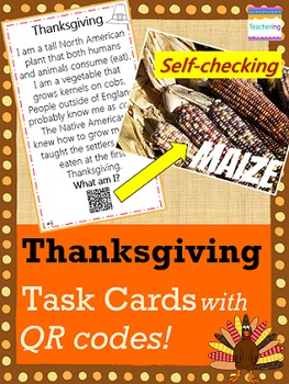 Thanksgiving Task Cards with QR Codes {Making Inferences}