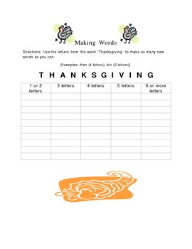 Thanksgiving Making Words