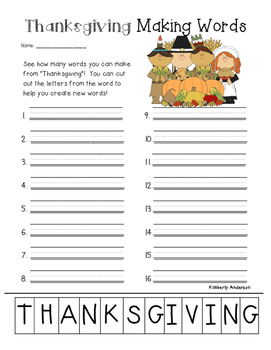 Freebie: Thanksgiving Making Words Activity