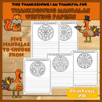 Thanksgiving Mandalas Writing Papers