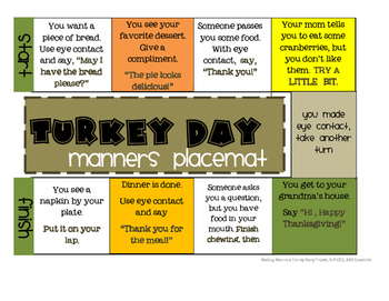Thanksgiving Manners Placemat
