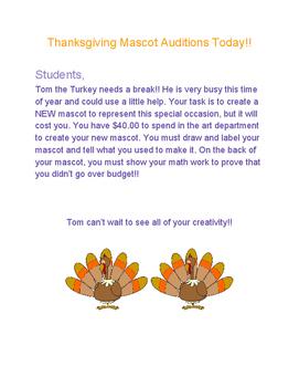 Thanksgiving Mascot with Decimals