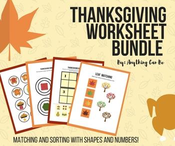Thanksgiving Match and Sort Worksheet Bundle