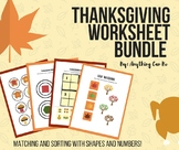 Thanksgiving Match and Sort Worksheet Bundle
