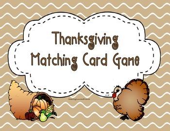 Thanksgiving Matching Card Game