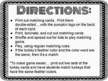 Thanksgiving Matching Game.Fun. No Prep