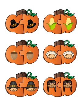 Thanksgiving Matching Puzzles & Center Activity
