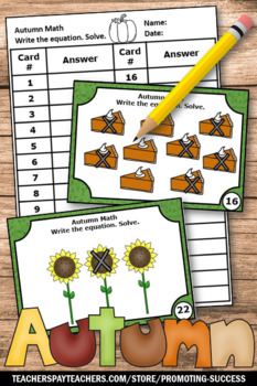 Kindergarten Thanksgiving Math Activities Subtraction to 10 Task Cards