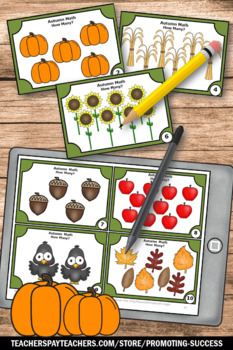Thanksgiving Math Activities Kindergarten Counting to 10 Task Cards SCOOT