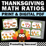 Thanksgiving Math Centers, 6th Grade Ratios Task Cards for Games & Activities