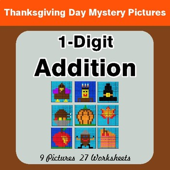 Thanksgiving Math: 1-Digit Addition - Color-By-Number Math Mystery Pictures