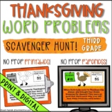 Thanksgiving Word Problems Scavenger Hunt Fun - Digital and Print