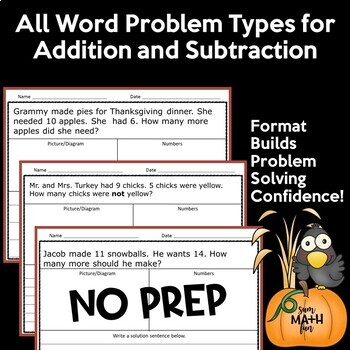 Thanksgiving Activities: Thanksgiving Math Word Problems First Grade