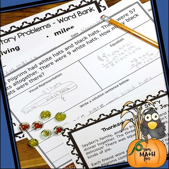 Thanksgiving Word Problems Second Grade Differentiated