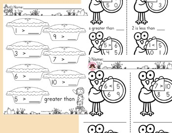 Greater Than Less Than Worksheets - Thanksgiving Math