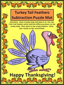 Thanksgiving Activities: Turkey Tail Feathers Subtraction Puzzles Math Activity