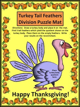 Thanksgiving Activities: Turkey Tail Feathers Division Puzzles Math Activity