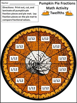 Thanksgiving Math Activities: Pumpkin Pie Fractions Math Activity Bundle Packet